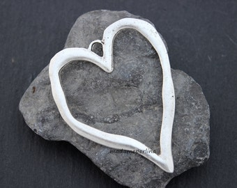 large heart pendant antique silver plated brass turkish Jewelry supplies findings mdla304