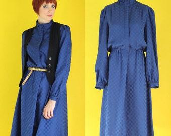 Vintage 70s Midi Dress - Navy Blue Dress - High Neck Dress - Long Sleeve Dress - Shirt Dress - Winter Secretary Dress - Size Large / XL