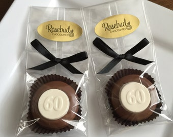 Chocolate Covered Oreo Cookie Candy Party Favors Number Sixty 60th Anniversary Birthday #60 Decorations 60s Dessert Table Decor