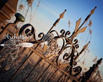 Digtal Download {Life is Beautiful} Cemetery Gate Photograph Rural Nebraska