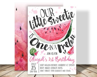 Little Sweetie is one in a Melon Watermelon Birthday Party Printable PDF invitation - 5x7 double sided - Summer Watermelon First Birthday