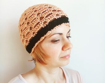 Crochet chemo hat, Summer Beanie HAT, COTTON Hippie hat Black women summer hats Peach Boho Skull cap Chemo Headwear