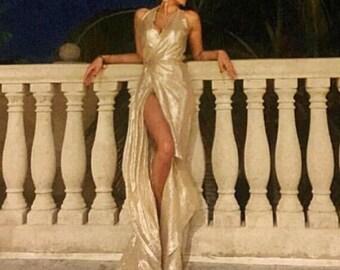 Irina Shabayeva COUTURE Silver Lame wrap gown .
