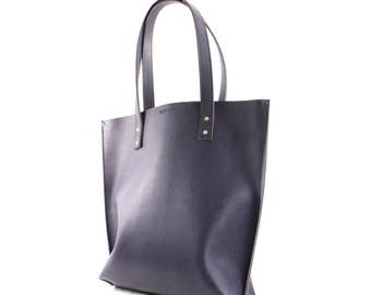 14″ x 12″ x 4″ dark purple Italian vegetable tanned leather tote, handbag, shopping bag, made in NY