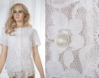Luxurious beautiful XL Plus size 1950's vintage ivory white nylon lined lace button front round neck see through blouse  - DB227