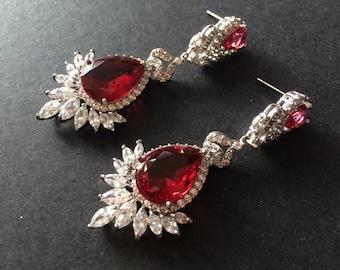 Elegant clear and red rhinestone crystals wedding bridal bridesmaids earrings, chandelier earrings, dangly earrings, wedding jewelry, bridal