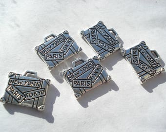 """16mm Zinc Metal Alloy Charms, Antique Silver Suitcase with Message """" New York Paris Tokyo """" Pack of 5 Charms C82"""