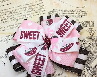 Sweet Boutique Hairbow, Boutique Hairbow, Hairbow, Pink Hairbowm Brown Hairbow