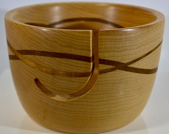 1109 Yarn bowl, made from Maple with a double wave of Black Walnut