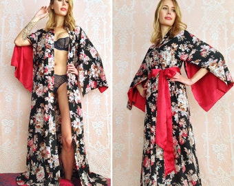 "The ""Haiku"". One custom made long Haiku robe in faux silk crepe with pockets Long kimono robe with pockets Bohemian boudoir Gift for her"