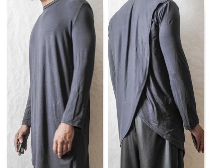 Overlay Back Elongated Tee rick owens inspired y3 fashion week nyc goth street