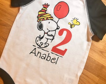 Snoopy birthday_ snoopy Party_ Birthday shirt_ first birthday_ Raglan bodysuit