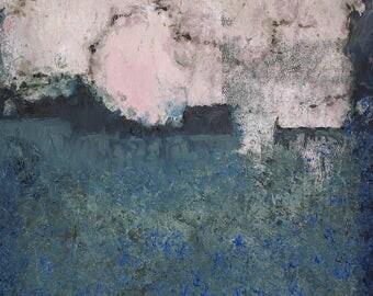 "Original Abstract Oil Painting,  ""Pink Moon"" , 12""x9"", by  artist John Kelley"
