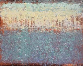 "Original Abstract Oil Painting, ""Night Light"" , 9""x12"" , by artist John Kelley"