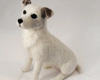 Jack Russell Terrier, Needle Felted Dog, Custom Made Dog Sculpture, Handmade Animal, 3 D Pet Portrait - made to order