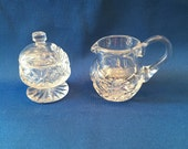Crystal Glass Demitasse, Espresso, Petite Cream and Sugar Bowl with Lid, [JC]