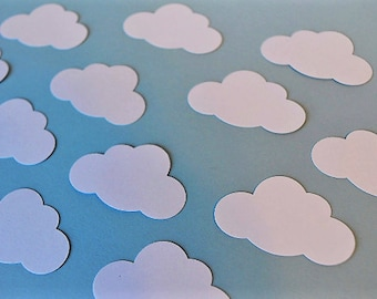 Paper Clouds in White, Paper craft Supplies, Cardmaking, Scrapbooking-Cloud Confetti -Baby Shower Decorations