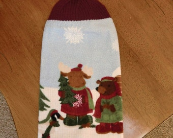 Christmas - Moose, Bear,Tree  Knit Top Kitchen Towels