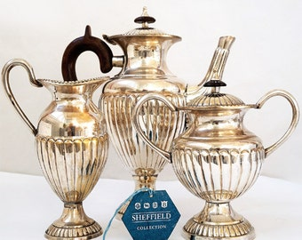 Vintage Silver Plate Tea Service,Sheffield Plate Victorian Style Coffee Pot Set,Italian  Sheffield Set with authenticity cards