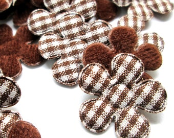 "100pcs x 7/8"" Brown Gingham Cotton Flower Padded/Appliques"