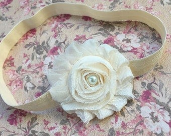 Cream Headband. Ivory Shabby Headband. Infant Headband. Baptism. Christening.  Wear Home Headband, Baby Headband, Coming Home Headband