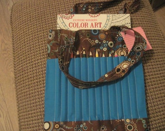 Adult coloring book and pencil bag -- brown and blue