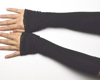 Long Mittens arm warmers vintage retro black romantic