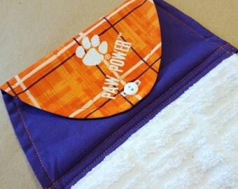 Clemson University Hanging Kitchen Towel, Button Top Dish Towel, Clemson Tigers, Wedding Gift, Kitchen Linens, Housewarming, Tailgating, RV
