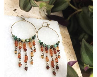 Hoop earrings, amber jewelry, chandelier earrings, citrine jewelry, unique jewelry, boho jewelry, bohemian jewelry, turquoise jewelry