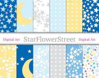Star Digital Paper moon and stars baby boy blue twinkle twinkle little star over the moon printable scrapbook paper download digital