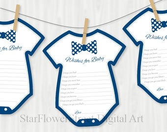 Bow Tie Baby Shower Decorations little man navy blue wishes for baby banner baby boy game advice bowtie  printable washing line onepiece