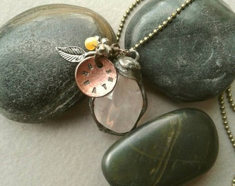 Long Pink Quartz Charm Necklace, Mixed Metal, Copper Stamped Charm, Breathe, Sterling Silver Leaf Charm, Pyrite Opal Charm, Soldered Jewelry