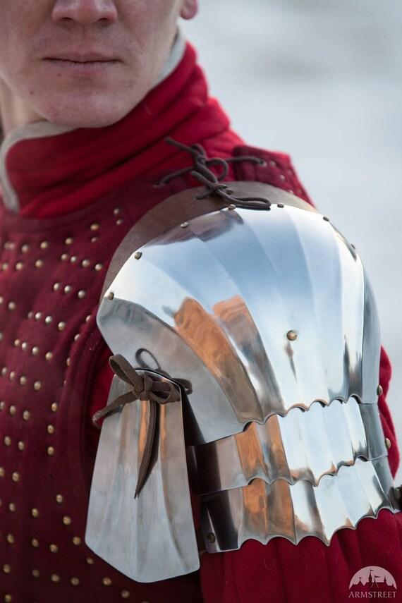 """DISCOUNTED PRICE! Metal Pauldrons """"Hound of War""""; Medieval Armor; Steel Armor; Steel Shoulders; Metal shoulders"""