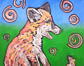 """Original mixed media canvas painting ,fox,mouse,story, """"Have you seen my mum?""""child,fox cub,little mouse,colourful,cute,naive art,artwork"""