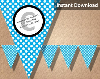 Turquoise Polka Dot Bunting Pennant Banner Instant Download, Kids Party Decorations, DIY Printables