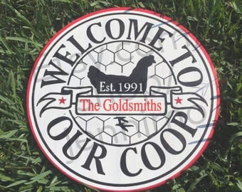 Welcome to our coop custom painted sign