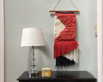 THE PATRIOT | Coral, Navy and Cream Weaving with Roving