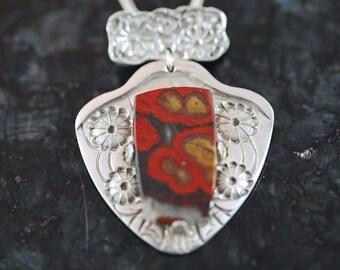 In Flanders Fields - poppy jasper pendant