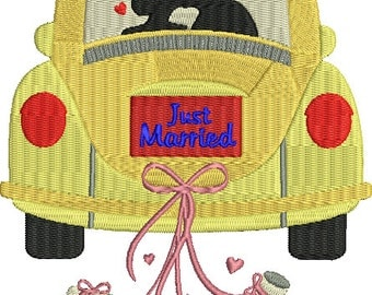 Bride and Groom in Car Just Married Wedding Love Machine Embroidery Design