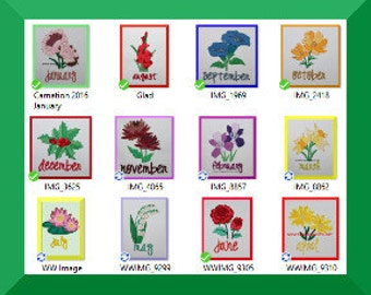 Flower of the Month Set January to DecembervDigitized Machine Embroidery Design Flower Quilt Block