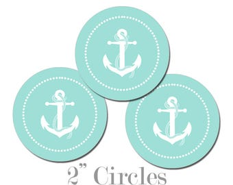 Digital Printable Two Inch Circles with Anchor in Aqua Blue Seaside Ocean Nautical Coastal Cupcake Toppers Gift Tags CCTB016