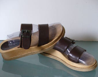 AE Leather & Wood Slides Made in Italy Size 7