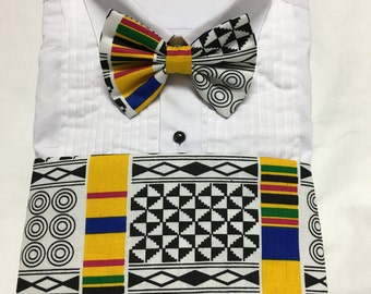 Bold Primary Colors African Kente Print Cummerbund for a wedding or formal event