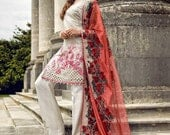 50% Off Sale- Sobia Nazir luxury net collection, white organza shalwar kameez-3pc stitched