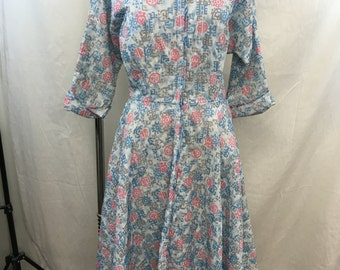 VINTAGE 50s Loungees At Home Fashion Blue Quilted Robe/ House Dress Size 12