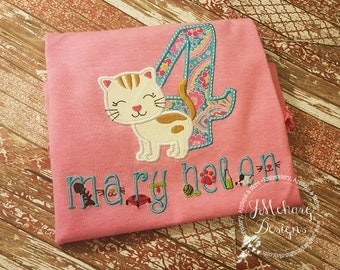 Kitten Monogram - Kitty Birthday Applique shirt - Customizable -  Infant to Youth 7 pink