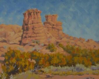 New Mexico - Rocks - Rock Formations - Red Rocks - Santa Fe - Plein Air - Landscape - Western - Oil Painting - Pillars - Desert - Cacti -