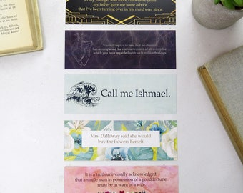 First and Last Line Bookmark set - Gift for Readers and Book Lovers- Book Mark  - Literature Bookmarks - Quotes - Librarian Gift - Literary