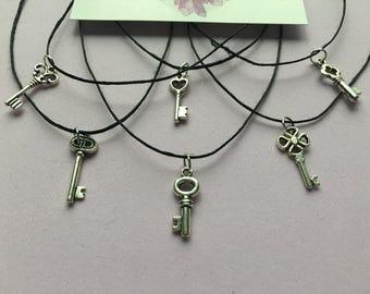Tiny Silver Key Charm Choker - Simple, Layer, Hemp