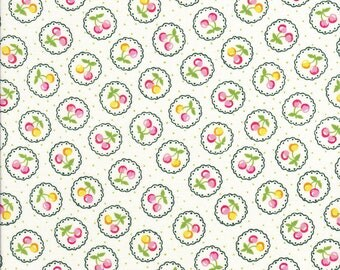 Old New 30s - Lecien Fabric - Reproduction Fabric - Cherry Fabric - Green Fabric - Scallop Fabric